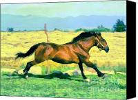 Dewy Painting Canvas Prints - Gallope Canvas Print by Odon Czintos