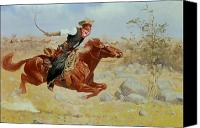 Bandana Canvas Prints - Galloping Horseman Canvas Print by Frederic Remington