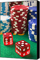 Gambling Canvas Prints - Gambling dice Canvas Print by Garry Gay