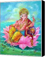 Indian God Canvas Prints - Ganapati Canvas Print by Kalpana Talpade Ranadive
