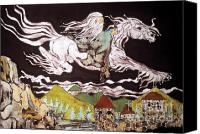 Fantasy Tapestries - Textiles Canvas Prints - Gandalf and Shadowfax Canvas Print by Carol Law Conklin