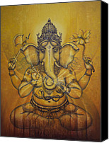 Chakra Canvas Prints - Ganesha darshan Canvas Print by Vrindavan Das