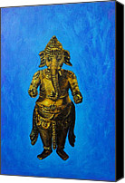 Indian God Canvas Prints - Ganesha Idol Canvas Print by Usha Shantharam