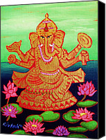 Indian God Canvas Prints - Ganesha Canvas Print by Rivkah Singh