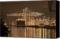 Tugboat Canvas Prints - Gantry Crane At Night Canvas Print by Ilona Berzups