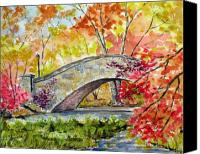 Landscapes Drawings Canvas Prints - Gapstow Bridge in November Canvas Print by Chris Coyne