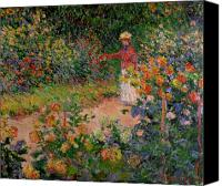 Picker Canvas Prints - Garden at Giverny Canvas Print by Claude Monet