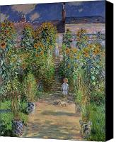 Le Jardin Canvas Prints - Garden at Vetheuil Canvas Print by Claude Monet