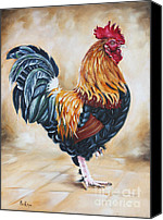Ilse Kleyn Painting Canvas Prints - Garden Centers Rooster Canvas Print by Ilse Kleyn