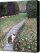 Pet Photography Painting Canvas Prints - Garden Delights I Canvas Print by Karen Zuk Rosenblatt