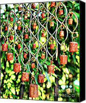 Chimes Canvas Prints - Garden Noah Bells Canvas Print by Cheryl Young