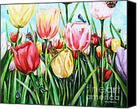 May Day Painting Canvas Prints - Garden Party Canvas Print by Shana Rowe