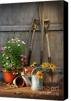 Shed Canvas Prints - Garden shed with tools and pots  Canvas Print by Sandra Cunningham