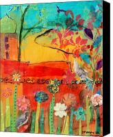Song Mixed Media Canvas Prints - Garden Walls Canvas Print by Suzanne Kfoury