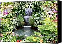 Gardens Canvas Prints - Garden Waterfall Canvas Print by Carol Groenen