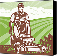 Gardener Canvas Prints - Gardener Landscaper Riding Lawn Mower Retro Canvas Print by Aloysius Patrimonio