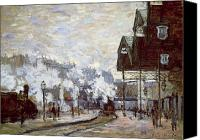 Lamps Painting Canvas Prints - Gare Saint-Lazare Canvas Print by Claude Monet