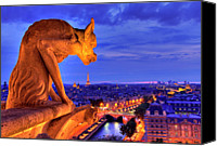 Sunset Canvas Prints - Gargoyle De Paris Canvas Print by Traumlichtfabrik