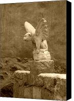 Critter Canvas Prints - Gargoyle in sepia Canvas Print by Suzanne Gaff