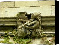 Joseph Duba Canvas Prints - Gargoyle Musician University of Chicago 2009 Canvas Print by Joseph Duba