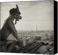 Outdoors Canvas Prints - Gargoyle Of Notre Dame Canvas Print by Zeb Andrews