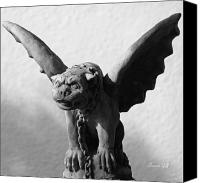 Critter Canvas Prints - Gargoyle Up Close in black and white Canvas Print by Suzanne Gaff
