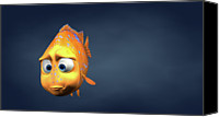 Copy Space Canvas Prints - Garibaldi Fish In 3d Cartoon Canvas Print by BaloOm Studios