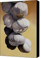 Photorealism Canvas Prints - Garlic Still Life Canvas Print by Matthew Bates