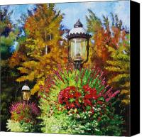 Lamps Painting Canvas Prints - Gas Light Square Canvas Print by John Lautermilch