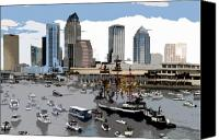 Tampa Bay Florida Canvas Prints - Gasparilla invasion work number 6 Canvas Print by David Lee Thompson