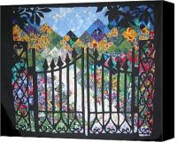 Impressionist Tapestries - Textiles Canvas Prints - Gate into the Garden Canvas Print by Sarah Hornsby