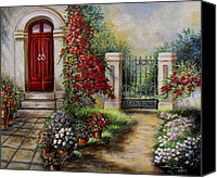 Flower Prints Greeting Cards Canvas Prints - Gate to the hidden Garden  Canvas Print by Gina Femrite