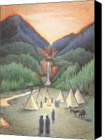 Native Drawings Canvas Prints - Gathering At The Falls Canvas Print by Amy S Turner