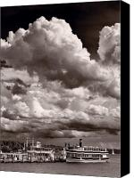 Lake Geneva Wisconsin Canvas Prints - Gathering Clouds Over Lake Geneva BW Canvas Print by Steve Gadomski