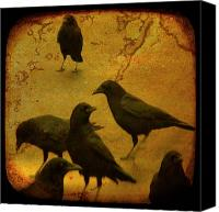 Ravens Canvas Prints - Gathering Canvas Print by Gothicolors With Crows