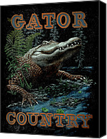 Swamp Canvas Prints - Gator Country Canvas Print by JQ Licensing