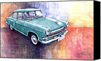 Vatercolour Canvas Prints - GAZ 21 Volga Canvas Print by Yuriy  Shevchuk