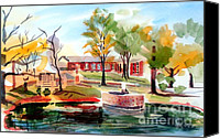 Pretty Painting Canvas Prints - Gazebo Pond and Duck II Canvas Print by Kip DeVore