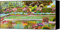 Potted Plants Painting Canvas Prints - Gazing Pond      plein air Canvas Print by Marie Massey