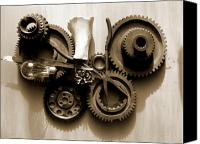 Fit Pyrography Canvas Prints - Gears III Canvas Print by Jan  Brieger-Scranton