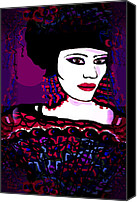 Hairstyle Mixed Media Canvas Prints - Geisha 3 Canvas Print by Natalie Holland
