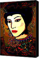 Hairstyle Mixed Media Canvas Prints - Geisha 5 Canvas Print by Natalie Holland