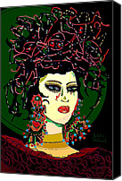 Hairstyle Mixed Media Canvas Prints - Geisha 6 Canvas Print by Natalie Holland