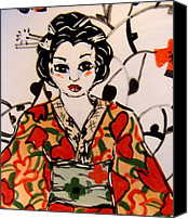 White Ceramics Canvas Prints - Geisha in training Canvas Print by Patricia Lazar
