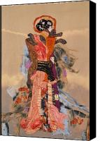 Art Quilt Tapestries - Textiles Canvas Prints - Geisha Canvas Print by Roberta Baker