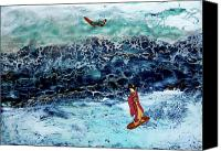Surfers Canvas Prints - Geisha Surfing  Canvas Print by Andy  Mercer