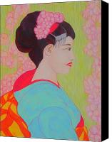 Akermans Art Canvas Prints - Geisha with Cherry Blossoms Canvas Print by Beth Akerman