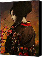 Girl Digital Art Canvas Prints - Geisha with Quince - revised Canvas Print by Jeff Burgess