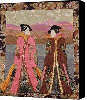 Art Quilt Tapestries - Textiles Canvas Prints - Geishas in Rose Canvas Print by Roberta Baker