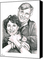 Celebrities Drawings Canvas Prints - Gene and Majel Roddenberry Canvas Print by Murphy Elliott